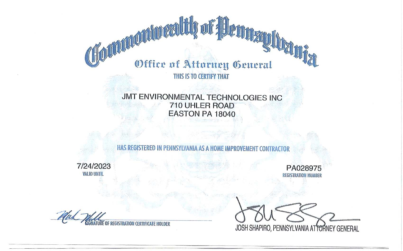 Commonwealth of PA Certificate