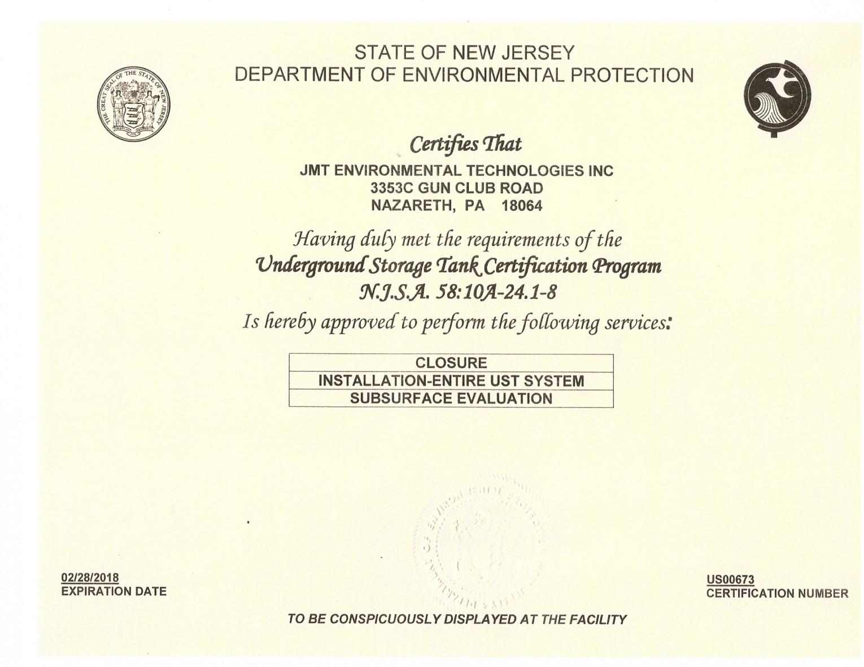 Training certification jmt environmental technologies pa nj certifications 1betcityfo Gallery