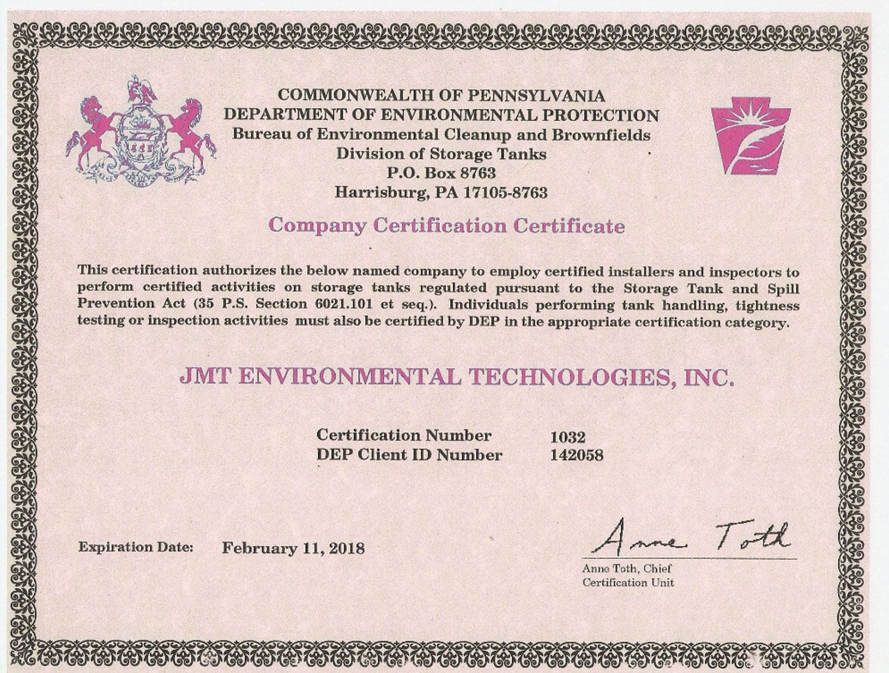 Rigging and millwright services jmt environmental technologies certifications 1betcityfo Image collections